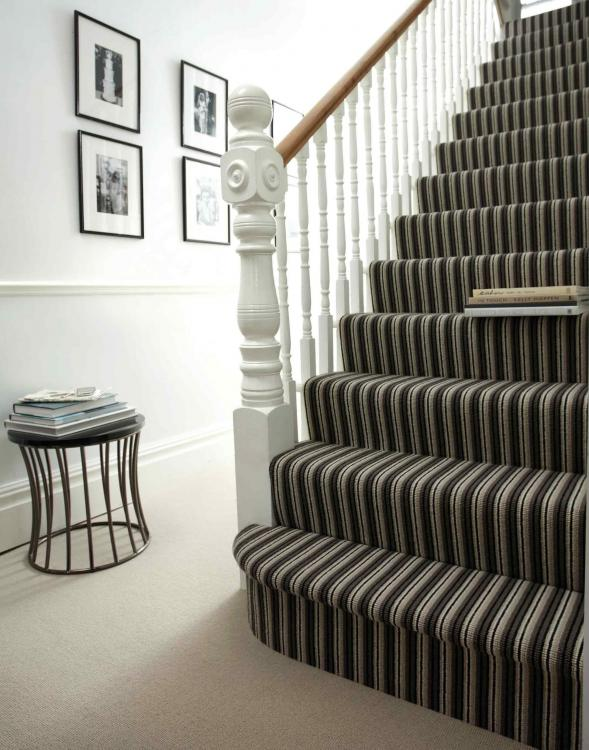 black and grey striped stair carpet