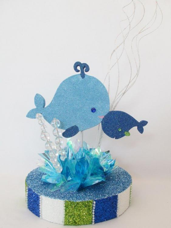 blue baby shower centerpieces