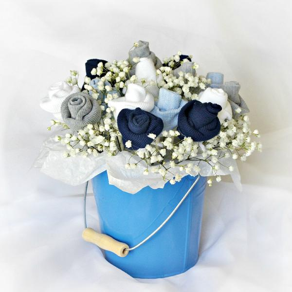 blue flower centerpieces for baby shower