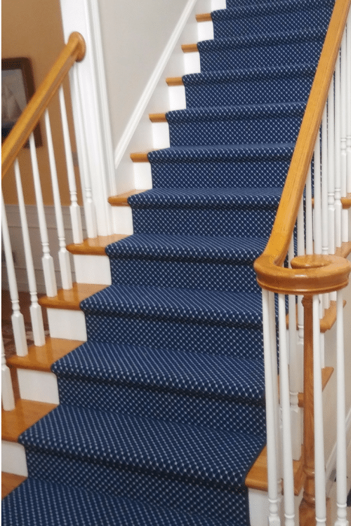 blue stair carpet