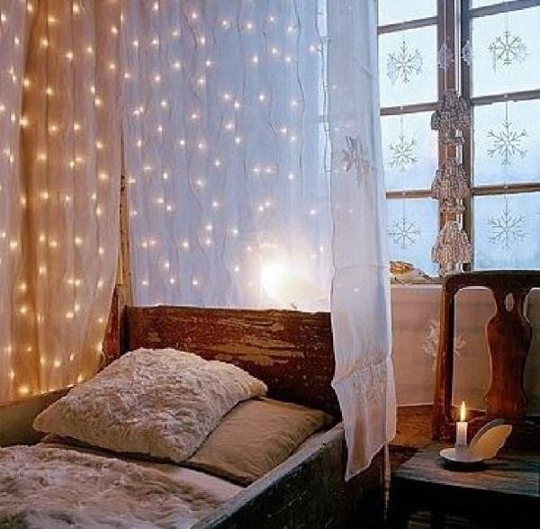 diy fairy light bed canopy