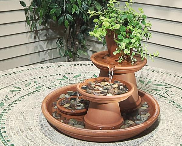 diy flower pot fountain