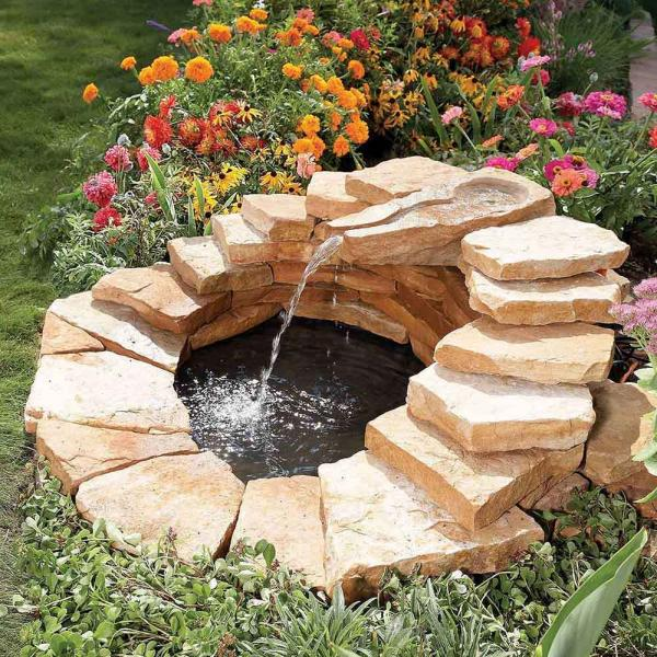 diy garden fountain waterfall