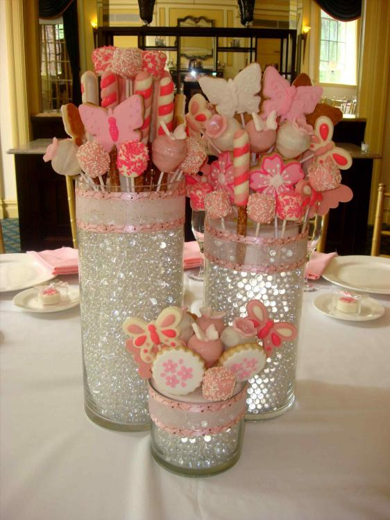 glass centerpieces for baby shower
