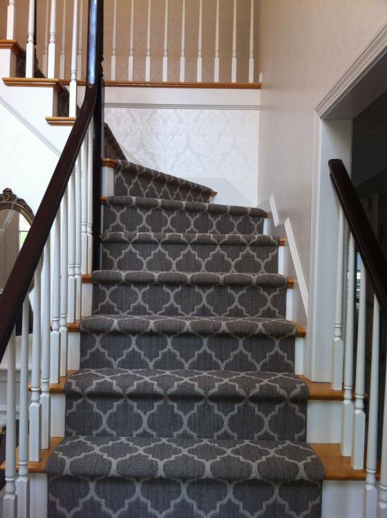 grey patterned stair carpet