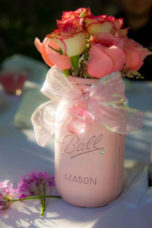 pink baby shower centerpieces