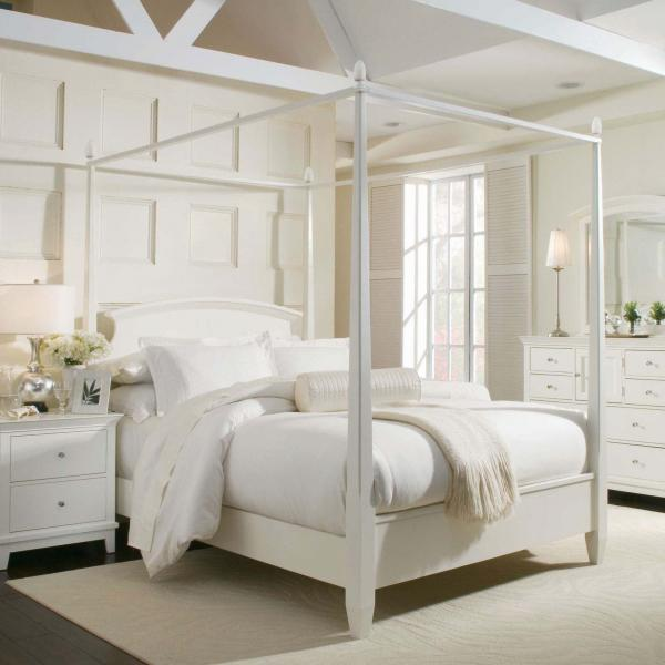white bedroom canopy