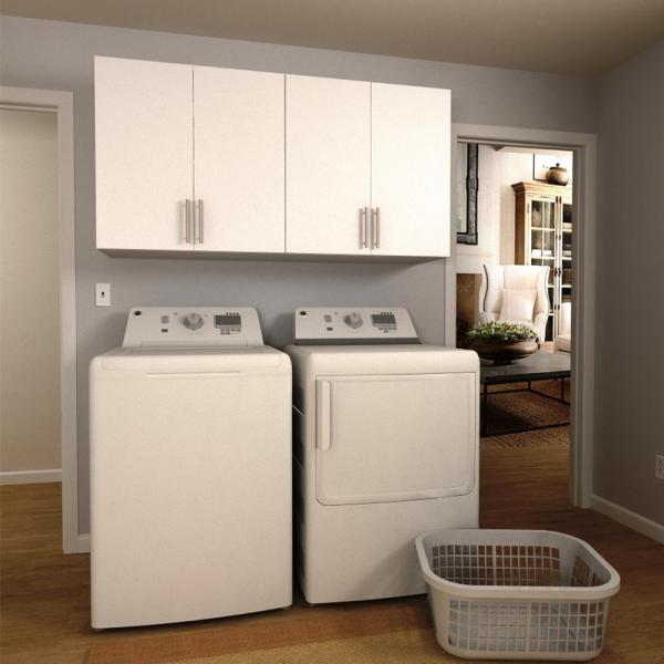 white storage cabinets for laundry room