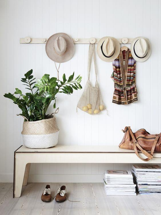 white wood hat rack