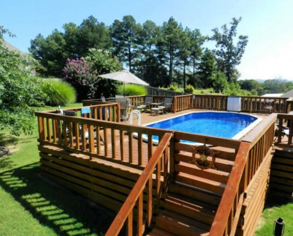 above ground pool mini deck