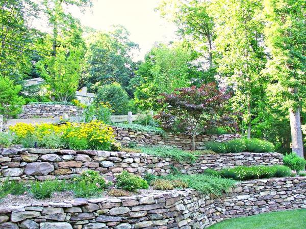 landscaping ideas retaining wall hillside
