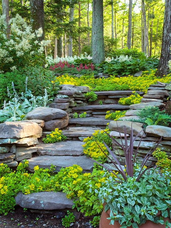 rock landscaping ideas for hillside backyard