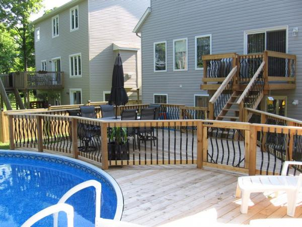 above ground pool deck and patio designs