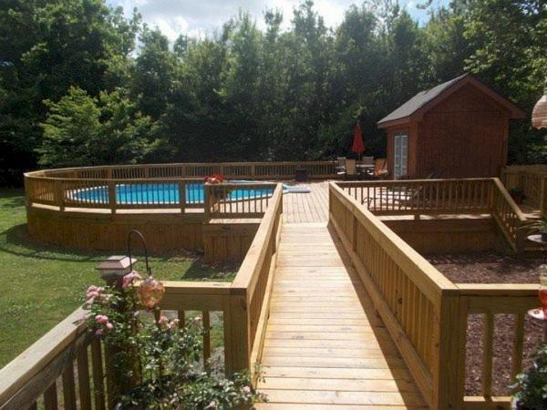 above ground pool deck railing ideas