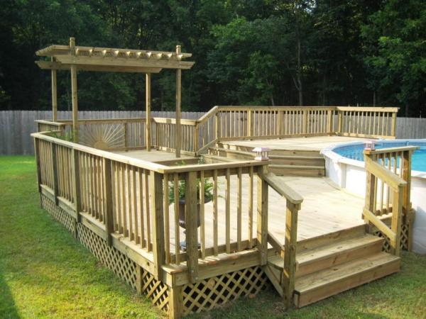 above ground pool deck with pergola
