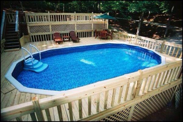above ground pool slide no deck
