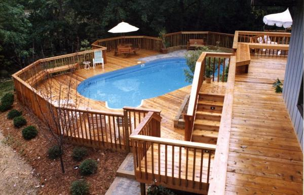 above ground pool tiered deck