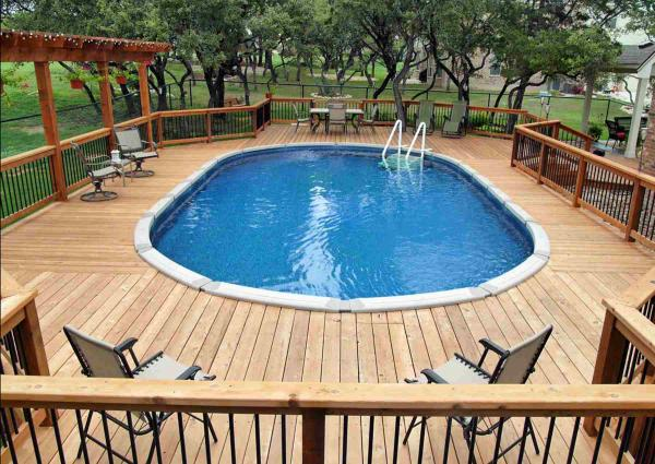 above ground pool top deck