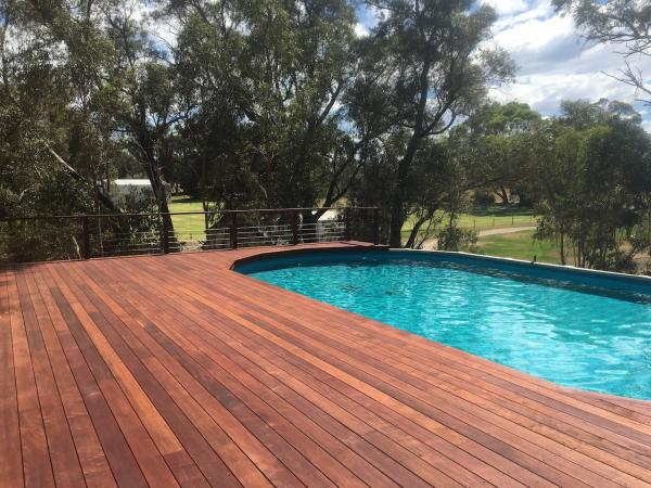 ground level deck for above ground pool