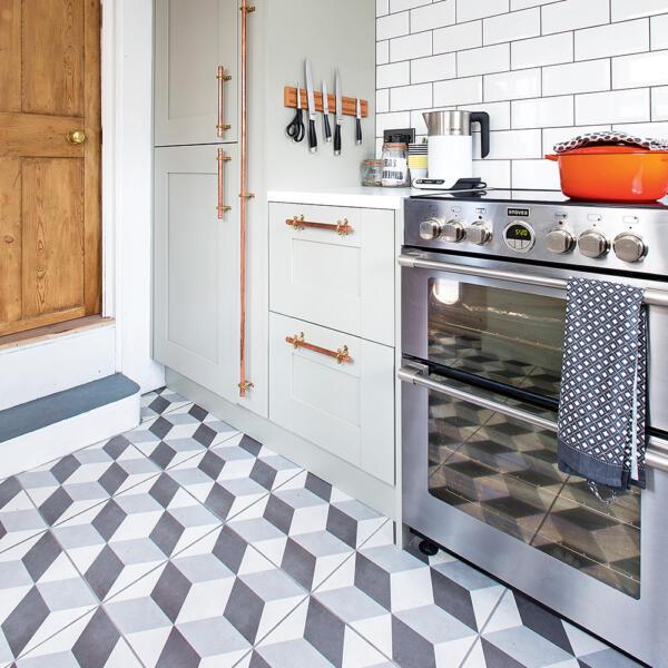 3d geometric kitchen flooring tile pattern ideas