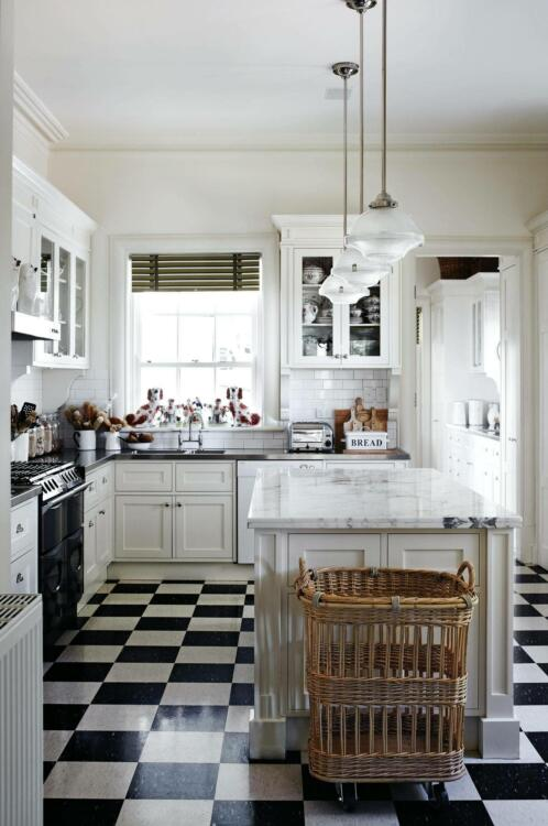 chess board black and white kitchen floor tile ideas