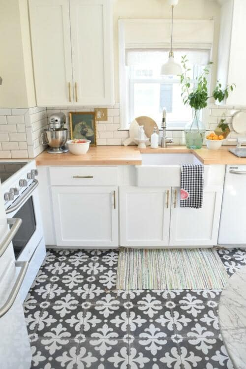 ethnic kitchen floor tile pattern