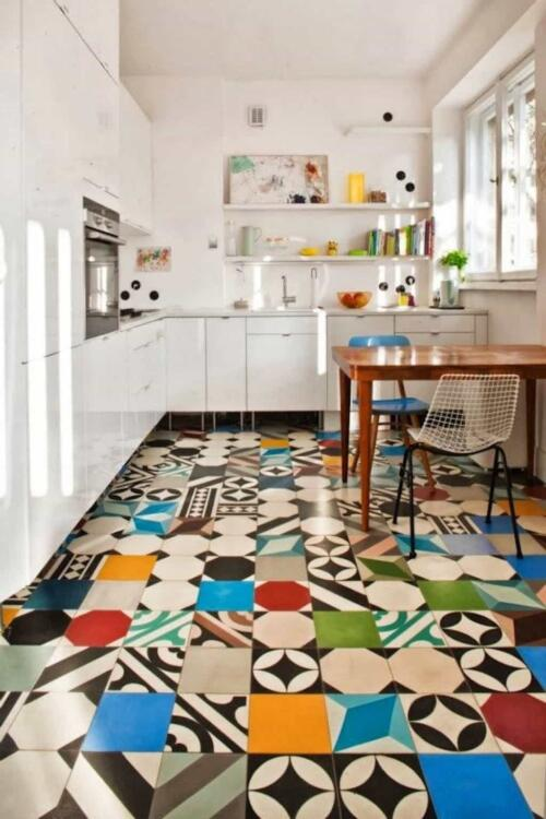 unique kitchen tile flooring